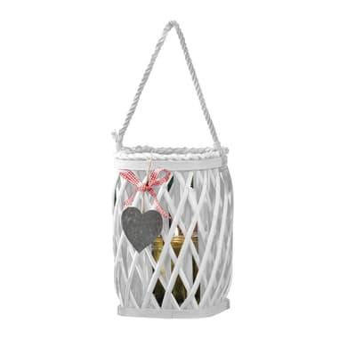 Lanterna portacandela in legno bianco H 18 cm, L 15 x Ø 15 cm