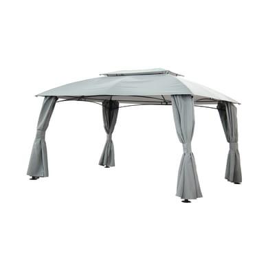 Pergolato acciaio e poliestere Anacapri grigio L 300 cm x P 400 cm, H 2.7 m