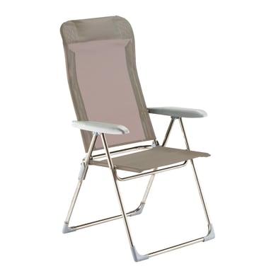 Sedia a sdraio pieghevole Relax in alluminio tortora