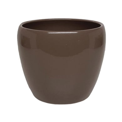 Vaso Summer in ceramica colore tortora H 9 cm, Ø 11 cm