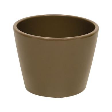 Vaso Stella in ceramica colore tortora H 12.8 cm, Ø 15 cm