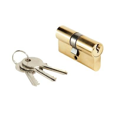 Cilindro tondo 60 mm, 2 ingressi chiave in ottone lucido 30 + 30 mm