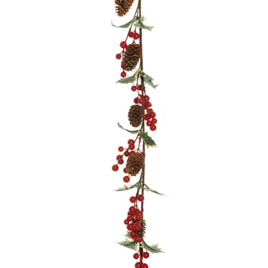 Ghirlanda natalizia rosso L 132 cm , Ø 25 cm