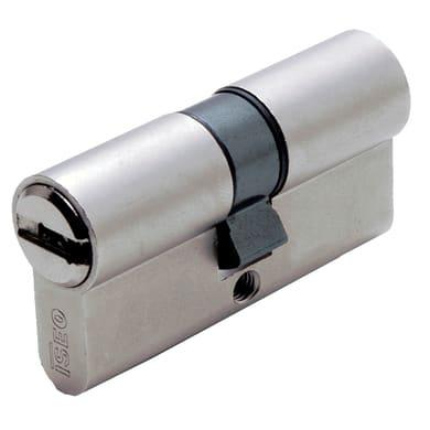 Cilindro Europeo 60 mm, doppio profilo in acciaio ottonato