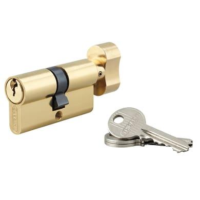Cilindro Europeo 110 mm, 1 ingresso chiave e 1 pomolo in acciaio ottonato