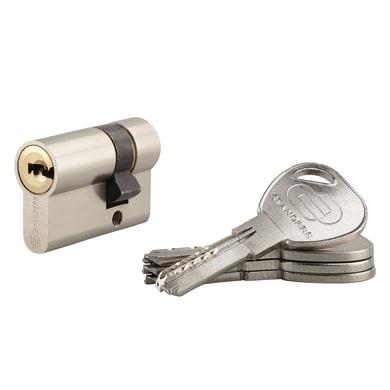 Cilindro Europeo 40 mm, 1 ingresso chiave STANDERS in ottone nichelato 30 + 10 mm