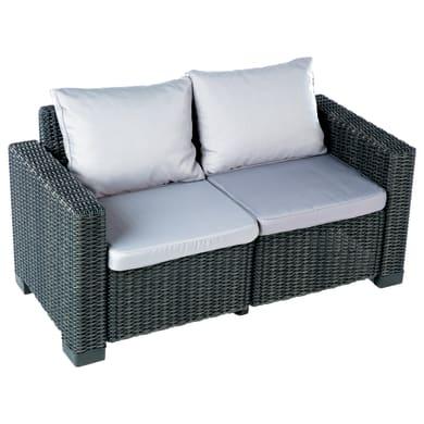 Divano da giardino con cuscino 2 posti in resina California colore grigio antracite