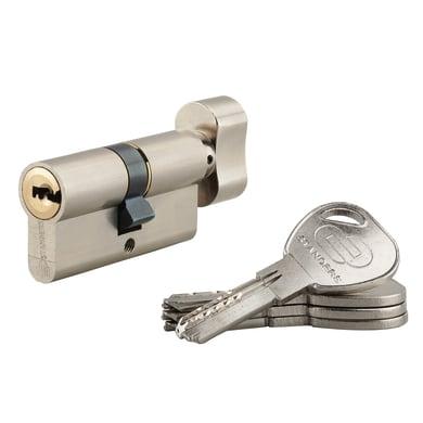 Cilindro Europeo 80 mm, 1 ingresso chiave e 1 pomolo STANDERS in ottone nichelato 30 + 30 mm