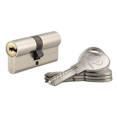 Cilindro 60 mm, 2 ingressi chiave STANDERS in ottone nichelato 30 + 30 mm