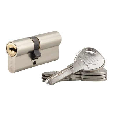 Cilindro 70 mm, 2 ingressi chiave STANDERS in ottone nichelato 30 + 40 mm