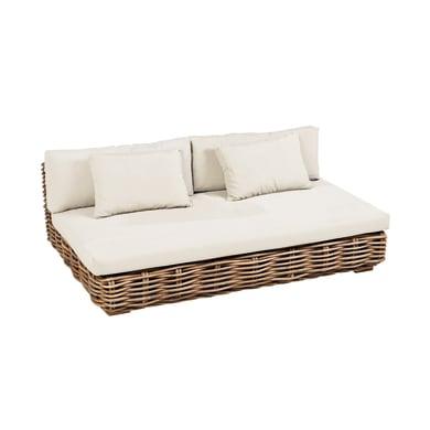 Divano da giardino con cuscino 2 posti in rattan sintetico Bora NATERIAL colore marrone e bianco