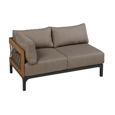 Divano da giardino con cuscino 2 posti in alluminio Peloponeso colore marrone e grigio scuro