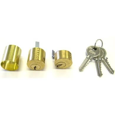 Cilindro tondo 62 mm, doppio profilo in acciaio ottonato