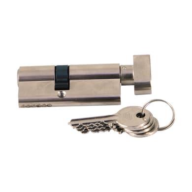 Cilindro Europeo 70 mm, 1 ingresso chiave e 1 pomolo STANDERS in ottone nichelato 30 + 40 mm