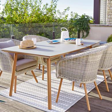 Set tavolo e sedie Malibù in alluminio beige 6 posti