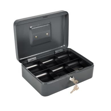Cassetta porta valori in acciaio grigio scuroL 25 x P 18 x H 9 cm