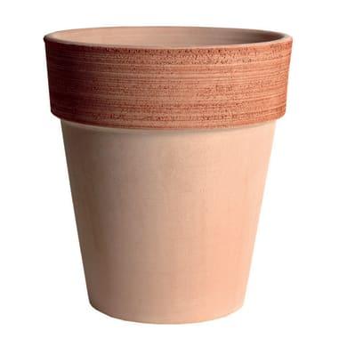 Vaso Alto graffiato in terracotta colore impruneta H 40 cm, Ø 35 cm