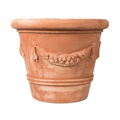 Vaso Festonato bordato in terracotta colore cotto H 60 cm, L 70 x P 70 cm