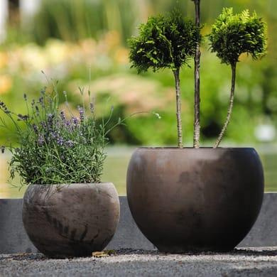 Vaso Luna Basalt in terracotta colore grigio H 12 cm, Ø 17 cm