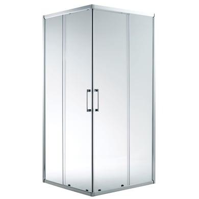 Box doccia rettangolare scorrevole REMIX 120 x 195 cm, H 195 cm in alluminio e vetro, spessore 5 mm trasparente argento