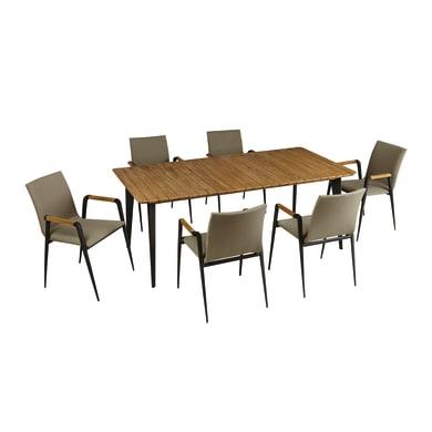 Tavolo da pranzo per giardino rettangolare Cosmo NATERIAL con piano in fibra di legno L 200 x P 100 cm