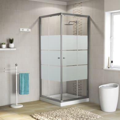 Box doccia quadrato scorrevole Dado 90 x 89 cm, H 185 cm in vetro temprato, spessore 5 mm serigrafato cromato