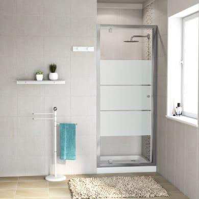 Porta doccia battente Dado 70 cm, H 185 cm in vetro temprato, spessore 5 mm smerigliato satinato