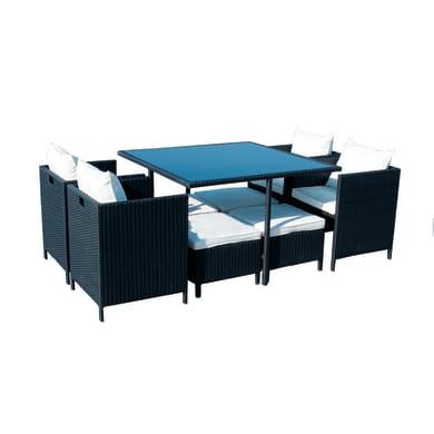 Set tavolo e sedie Kubik in rattan nero 4 posti