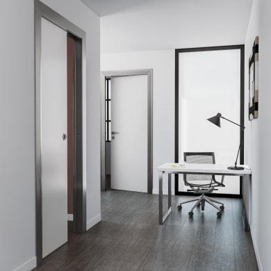Porta scorrevole a scomparsa per ufficio Frame bianco L 70 x H 210 cm reversibile