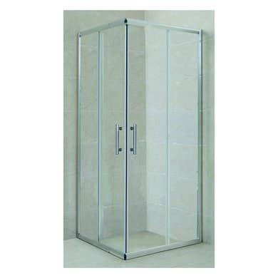 Box doccia rettangolare scorrevole Jalaia 80 x 100 cm, H 185 cm in vetro temprato, spessore 5 mm trasparente cromato