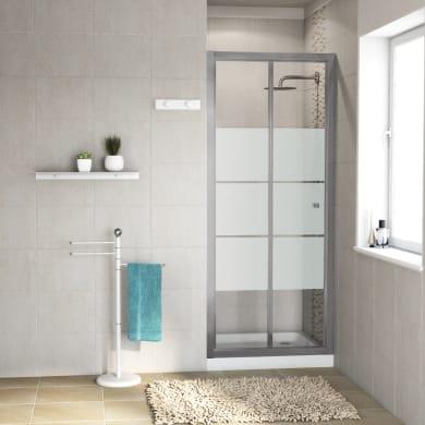 Porta doccia pieghevole Dado 90 cm, H 185 cm in vetro temprato, spessore 5 mm smerigliato satinato