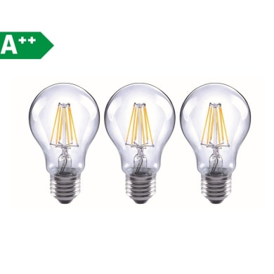 Lampadina Filamento LED E27 standard bianco caldo 6.5W = 806LM (equiv 60W) 360° LEXMAN, 3 pezzi