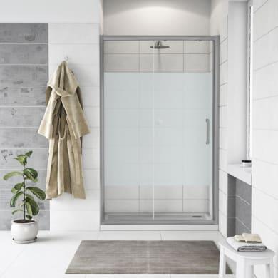 Porta doccia scorrevole Quad 140 cm, H 190 cm in vetro, spessore 6 mm serigrafato satinato