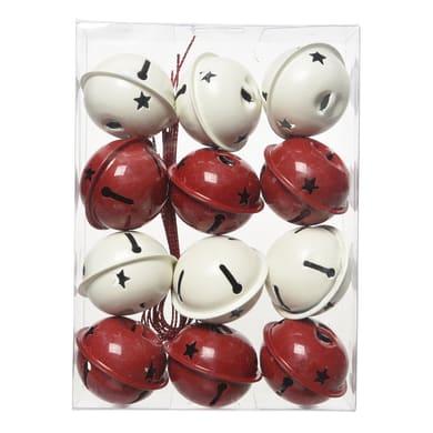 Decorazione per albero di natale Set 12 campane in metallo in due versioni assortite bianche e rosse H 4 cm, Ø 4 cm confezione da 12 pezzi