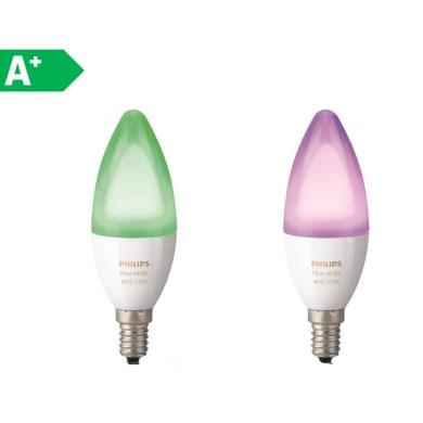 Lampadina LED E14 oliva colore cangiante 6.5W = 470LM (equiv 40W) 220° PHILIPS HUE