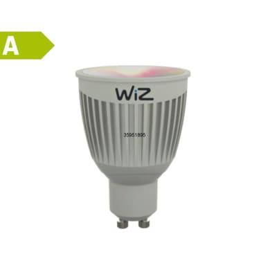 Lampadina LED GU10, Faretto, Argentato, Variazione dei bianchi e colori cangianti, Luce CCT e RGB, 6.5W=345LM (equiv 50 W), 60° , WIZ , set di 2 pezzi