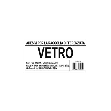 Cartello segnaletico Raccolta diff. vetro vinile 12 x 6 cm