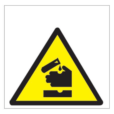 Cartello segnaletico Pericolo corrosivi vinile 17 x 17 cm
