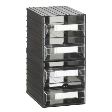 Cassettiera portaminuteria in plastica nero 4 scomparti