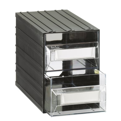 Cassettiera portaminuteria in plastica nero 2 scomparti