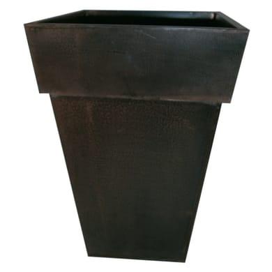 Vaso Quadro Alto in fibra di vetro colore marrone H 70 cm, L 42 x P 42 cm