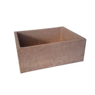Lavabo da giardino Square piccolo in cemento H 18 cm, 48 x 38 cm