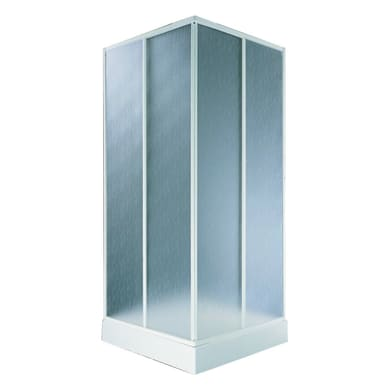 Box doccia quadrato scorrevole Aqva 80 x 80 cm, H 180 cm in acrilico, spessore 1.5 mm acrilico piumato cromato