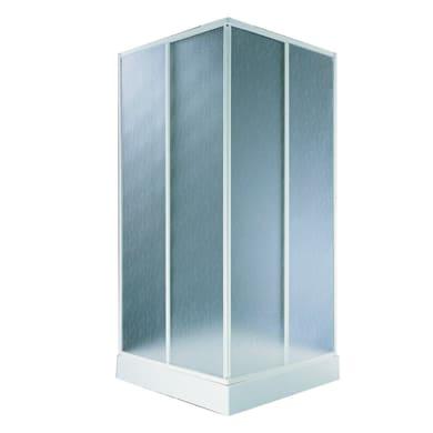Box doccia rettangolare 2 ante fisse + 2 ante scorrevoli Aqva 80 x 90 cm, H 180 cm in alluminio, spessore 1.5 mm acrilico piumato bianco