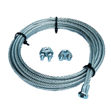 Cavo con gancio STANDERS a T + 2 morsetti per porte basculanti  in acciaio zincato Ø 4 mm x 2.5 m