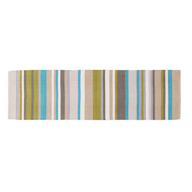 Passatoia Casablanca stripes in cotone, verde, 55x180 cm