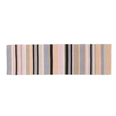 Passatoia Casablanca stripes in cotone, grigio, 55x180 cm