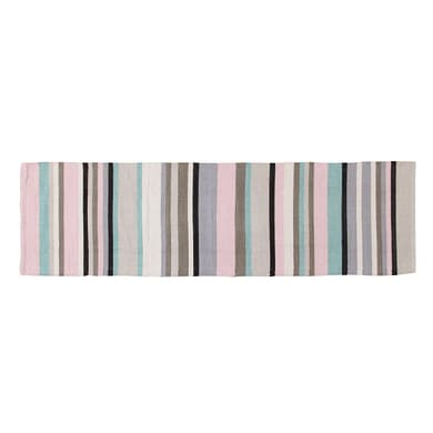 Passatoia Casablanca stripes in cotone, rosa, 55x180 cm