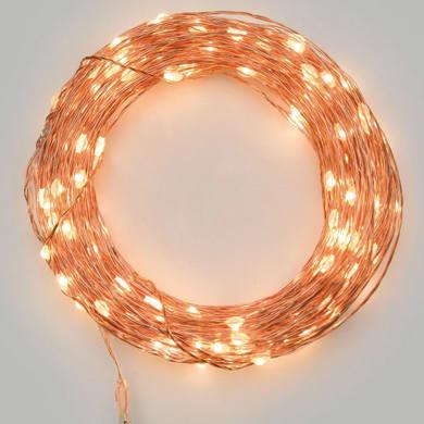 Catena luminosa 20 lampadine LED bianco caldo 10 cm