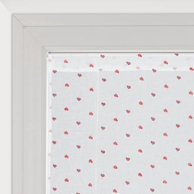 Tendina vetro Andorra bianco e rosso tunnel 60 x 150 cm